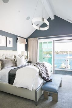 That cool calming wall color and all the fresh air floating in are what nap-times are made of! #brandonarchitects  Builder: Spinnaker Development Interior: Details a Design Firm Lens: Ryan Garvin