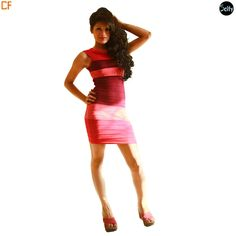 Fuchsia bandage dress in lycra which is a stretchable material with boat neckline and criss cross pattern at the back. The print is in horizontal stripes in the shades of pink. http://www.droomfashion.com/shop/gowns-dresses/party_dresses_fuchsia_bandage_dress/
