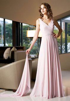 Online Sale Charming Straps V-neck Wrinkled Chiffon Pink A-line Dress