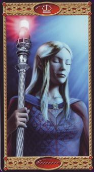 Tarot of the Elves - Queen of Rods ~~~~~ I couldn't find my usual Queen for this deck, I'll settle for the Queen of Wands/Staves/Rods. This deck is very pretty, but maybe a wee bit LotR-ey