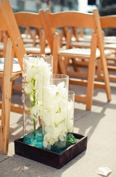 ceremony decorations, modern , orchid, turquoise, white, Del Mar, California