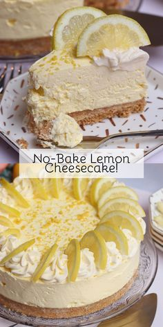 A Delicious, Sweet and Easy No-Bake Lemon Cheesecake! Only Four Ingredients for a Wonderfully Sweet and Summery Cheesecake Filling! Desserts No-Bake Lemon Cheesecake - Back to Basics - Jane's Patisserie Lemon Cheesecake Recipes, Oreo Cheesecake, Easy No Bake Cheesecake, Lemon Dessert Recipes, Christmas Cheesecake, Raspberry Cheesecake, Lemon Recipes No Bake, No Bake Cheescake, Easy Lemon Desserts