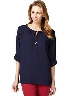 Long Sleeve Boho Tie Neck Blouse - Marks & Spencer