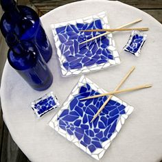 Fused Glass Sushi Set - Stylish and Chic - Custom Order In Your Choice of Colors $120