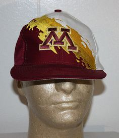 sneakers for cheap 5985f 74336 Details about Vintage Logo 7 Minnesota Gophers Paint Splash Snapback Hat Cap