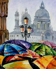 Rainy Day In Venice — Palette Knife Italy Cityscape Wall Art Oil Painting On Canvas By Leonid Afremov. Art And Illustration, Illustrations, Artist Painting, Oil Painting On Canvas, Painting & Drawing, Venice Painting, Culture Art, Art Watercolor, Umbrella Art