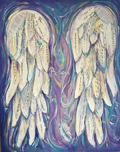 Angel Wings Painting Custom order your own Wings of Love painting. By Michelle Lake 16x20 Created on a 16 x20 inch stretched canvas, painted on the sides Varnished to protect your work of art Ready to hang You choose the colours, The words, songs, etc that you would like. You may