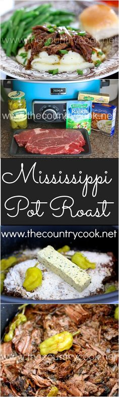 mississippi pot roast, slow cooker, pot roast, Ninja Cooking System, ranch dressing, onion soup mix, butter, peperoncini peppers, pot roast, family, dinner, recipe, country, southern, country cooking