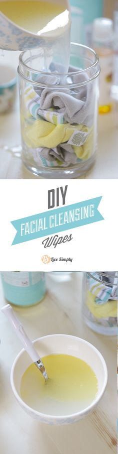 Homemade RESUABLE Facial Cleansing Wipes. These wipes are easy to make and super affordable. No need for soap or fancy face wipes. Diy Masque, Homemade Cleaning Wipes, Face Cleaning, Diy Cleaning Products, Homemade Face Lotion, Homemade Facials, Diy Cleansing Oil, Facial Cleansing, Diy Makeup Wipes