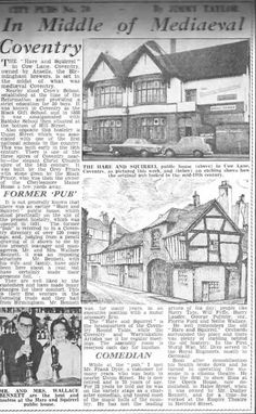 The Hare and Squirrel Coventry. My Grandad Arthur Petty was the licensee Photographs And Memories, Jacobean, English Style, Coventry, Hare, Ancestry, Squirrel, 1940s, Medieval