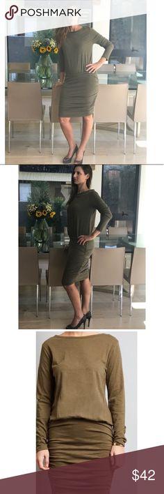 Olive Side Sheering Dress Side sheering olive dress . Long Sleeve . 100% Cotton. New . Bundle and save option . Dresses