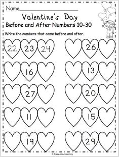 Free Fall Numbers math worksheet for preschool and kindergarten. Students write the numbers that come before and after. This is a fun February activity Numbers Kindergarten, Kindergarten Math Worksheets, Worksheets For Kids, Addition Worksheets, Super Worksheets, Math Numbers, Valentines Day Activities, 1st Grade Math, Math Games