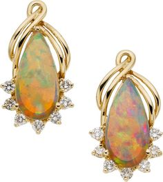Opal, Diamond, Gold Earrings The earrings feature pear-shaped opal cabochons measuring 14.50 x 7.20 mm, enhanced by full-cut diamonds weighing a total of approximately 0.40 carat, set in 14k gold,