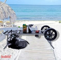 Beach Cart with Folding Table Drink Holders Tire Table, Fishing Cart, Beach Wagon, Beach Cart, Look Good Feel Good, One With Nature, Beach Umbrella, Patio Umbrellas, Drink Holder