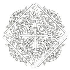 Four Elements Cross Mandala an adult coloring page See