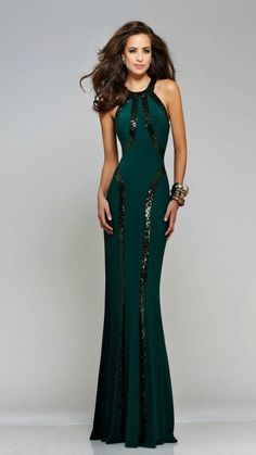 Best Selling & Best Fitting Faviana 7510 Sequin Trim T-Back Jersey Gown