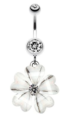 Shimmering Hearty Flower Belly Button Ring - 14 GA (1.6mm) - Clear - Sold Individually