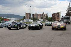 heritage jaguars lined up outside fiera di brescia #millemiglia