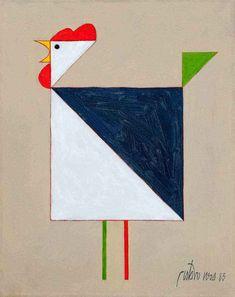 Chicken Illustration, Illustration Art, Painting For Kids, Drawing For Kids, Bird Quilt Blocks, Easy Art For Kids, Rooster Painting, Simple Artwork, Africa Art