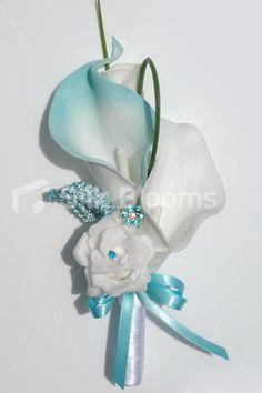 Duck Egg Blue & White Calla Lily & Mini Rose Wedding Corsage #artificialflowers #wedding #weddingflowers #bouquet #flowers #bridal #silkflowers