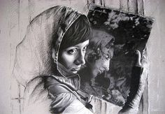 """Mirror by Mojgan Jafari """""""" Mirror"""" is a realistic portrait in black and white. This artwork shows the face of a young woman and her reflection at the mirror. You can realize the story of her life in her eyes. For this painting, I used pastel pencil on paper."""