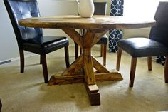 Square x base pedestal dining table free plans at ana for Diy square pedestal table