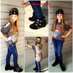 Rocker fashion kids girls Rolling Stones punk