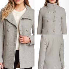 """Jessica Simpson Gray Wool Coat Available in sizes small, medium, large & XL.               •Spread collar                                                           •Long sleeves with triple barrel cuff                       •Double breasted button front closure                 •Welt front faux pockets                                          •Padded shoulders                                                    •Approx. 28.5"""" length                                           •Shell: 43% wool…"""