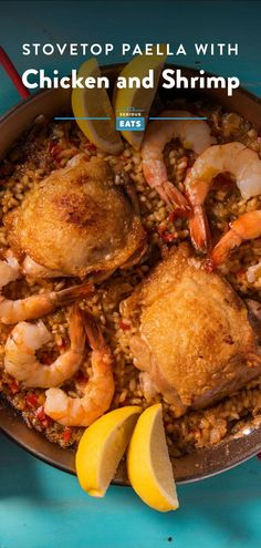 Stovetop Paella Mixta for Two With Chicken and Shrimp Shrimp Paella Recipe, Chicken And Shrimp Recipes, Chicken Thigh Recipes, Seafood Recipes, Dinner Recipes, Recipe Chicken, Rice Recipes, Recipes For Soups And Stews, Paella Pan