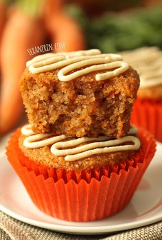 Healthier Carrot Cake Cupcakes (grain-free, gluten-free, dairy-free)