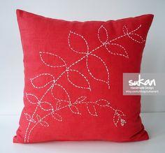 Sukan / White Flower Red Linen,Throw Pillow Cover, Decorative Pillow Cover, Embroidered Pillow, Pillow Case, 16x16 Pillow
