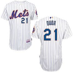 Lucas Duda New York Mets # 21 Cream Blue Strip Alternate Cool Base Stitched MLB Jersey