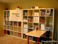 Wall storage for homeschool room