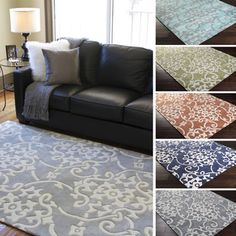 Hand-Tufted Floral Contemporary Area Rug-(3'6 x 5'6) | Overstock.com Shopping - Great Deals on 3x5 - 4x6 Rugs