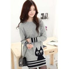 Casual Scoop Neck Long Sleeves Pussy Cat Print Stripes Decorated Edge Knitting Women's Dress