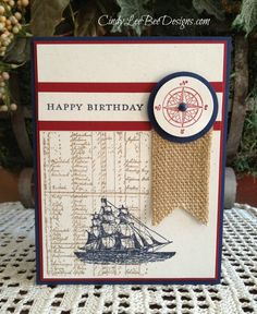 Cindy's CAS card: The Open Sea, Morning Meadow (hostess), and Burlap Ribbon. All supplies from Stampin' Up!