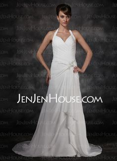 Wedding Dresses - $158.99 - A-Line/Princess V-neck Chapel Train Chiffon  Charmeuse Wedding Dresses With Ruffle  Beadwork (002001693) http://jenjenhouse.com/A-line-Princess-V-neck-Chapel-Train-Chiffon-Charmeuse-Wedding-Dresses-With-Ruffle-Beadwork-002001693-g1693