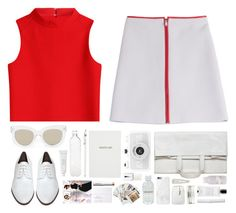 """""""138. Lian"""" by mshalloweenhead ❤ liked on Polyvore featuring Courrèges, Rachel Comey, Maison Margiela, Quay, Agonist, Davines, Native Union, Mossimo, Sloane Stationery and J.Crew"""