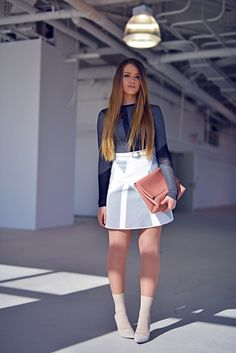 miniskirt with cute top and nude heels