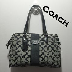 """Coach Grey/ Black Signature C's Handbag ❤️ Coach Grey & Black Signature C's medium/ large Satchel. Bought this on Poshmark in May. Measures 12"""" L, 8"""" H, 7"""" Strap drop. CORRECTION: I FOUND THE LONG STRAP THATS ADJUSTABLE!!  Retails for $358. This handbag is in great condition w/ little signs of wear! There is no creed number, see pic but not all Coach bags have one. The inside zipper has YKK. I've turned into a Dooney & Bourke lover is why I'm selling! smoke free home Have a blessed day  God…"""