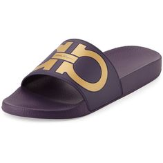 Salvatore Ferragamo Groove Gancini Slide Sandal ($195) ❤ liked on Polyvore featuring men's fashion, men's shoes, men's sandals, men's shoes sandals, mens sandals, mens strap sandals, salvatore ferragamo mens shoes, mens rubber shoes and mens shoes
