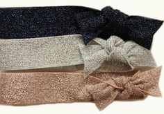 Metallic #hairties &/or #headbands #FashionFLEXY® 3-Pack in Midnight Blue, Silver & Light Pink... Metallic threads on both sides add extra sparkle & grip.  #www.fashionflexy.com