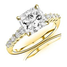 1.2 Carat t.w. GIA Certified Princess Cut 14K Yellow Gold Classic Prong Set Side Stone Diamond Engagement Ring (J-K Color SI1-SI2 Clarity) >>> More info could be found at the image url.