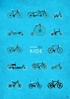 Bicycle Types, Bicycle Varieties, Cycling Illustration, Bicycle Wall Art, Bike Art Print