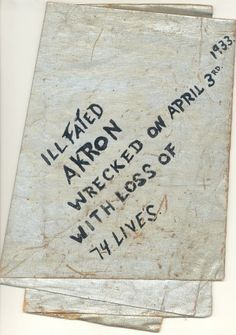 Debris from the violent explosion of the world's largest airship, the USS Akron,  off the coast of New Jersey, littered the beach of Ocean City on April 4, 1933.  Joshua Bunting of Ocean City recovered and saved this piece of the outside cover of the Akron.  It is a very rare artifact from a monumental event that occurred on the East Coast of the United States.
