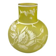 A fine English cameo vase by Webb with a lovely floral design. It is executed in white cut to citron glass Condition is very good. House Color Palettes, Chic Living Room, Living Rooms, Chinoiserie Wallpaper, Modern Light Fixtures, Subtle Textures, Architectural Elements, Contemporary Jewellery, Glass Art