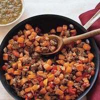 Sweet Potato & Sausage Hash. Bet This Would Be Delish With Some Over Easy Eggs On Top.