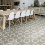 Illusion is a bold retro design that looks particularly effective in open-plan spaces. Its large pattern can cleverly be made into three different designs by changing the position of the tiles. 25 tiles per square metre. Sold in boxes of Grey Flooring, Kitchen Flooring, Floors, Encaustic Tile, Grey Pattern, Tile Patterns, Retro Design, Illusions, Tile Floor