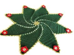 Green crochet Christmas doily