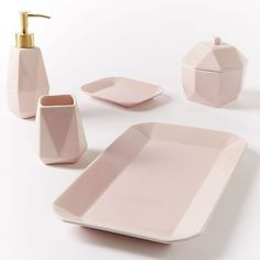 Faceted Porcelain Bath Accessories – Pink west elm The post Faceted Porcelain Toothbrush Holder, Pink appeared first on Best Pins for Yours - Bathroom Decoration Bathroom Shelves, Small Bathroom, Bathroom Canvas, Master Bathroom, Rental Bathroom, Grey Bathrooms, Modern Bathroom, West Elm, Countertop Organization